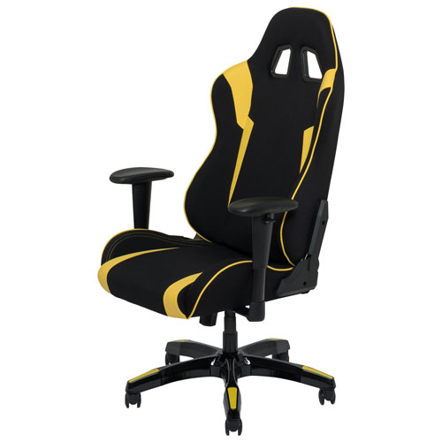 Super Corliving Leatherette Mesh Ergonomic Gaming Chair Black Yellow Dailytribune Chair Design For Home Dailytribuneorg