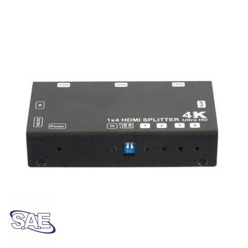SAE 1x4 HDMI Splitter (1-in 4-out) Support 3D, 4Kx2K at 60Hz