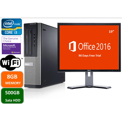 "Dell Optiplex 390, Intel i3-2100-3.0 GHz,8GB memory, 500gb hard drive, DVD, Windows 10 Pro, 19"" LCD, 1YW-Refurbished"