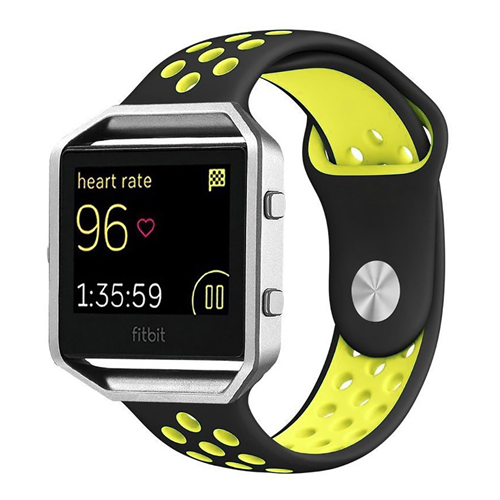 Fitbit Blaze Silcone Sport Long Strap in Black and Yellow