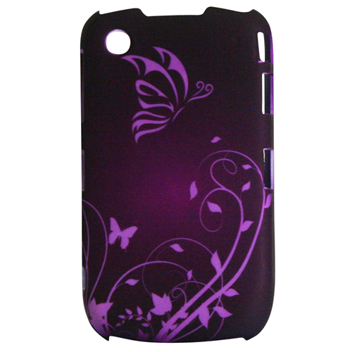 Exian Blackberry Curve 8520/8530/9300 Hard Plastic Case Exian Design Flower & Butterfly Purple