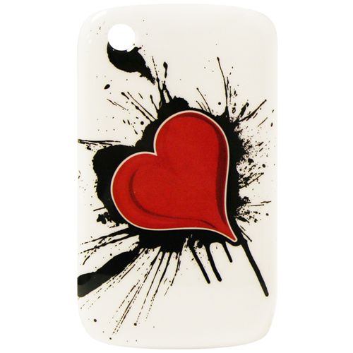 Exian Blackberry Curve 8520/8530/9300 Hard Plastic Case Exian Design Red Heart on White