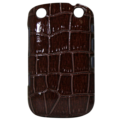 Exian Blackberry Curve 9320 Hard Plastic Case PU Crocodile Leather Wrapped Around Brown
