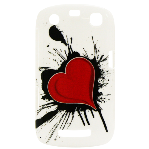 Exian Blackberry Curve 9360 Hard Plastic Case Exian Design Red Heart on White