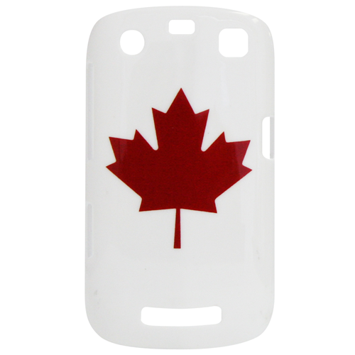 Exian Blackberry Curve 9360 Hard Plastic Case Exian Design Maple Leaf on White