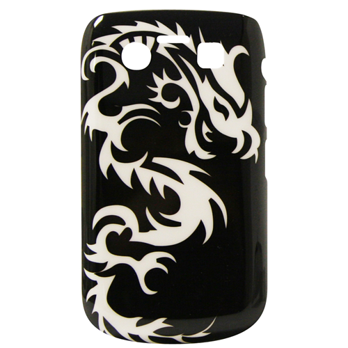 Exian Blackberry Bold 9700 Hard Plastic Case Exian Design White Dragon on Black