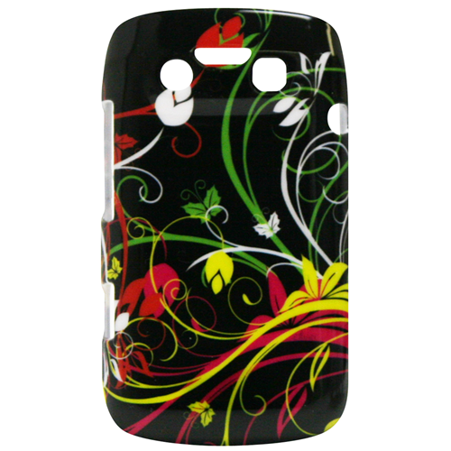Exian Blackberry Bold 9790 Hard Plastic Case Exian Design Multi Color Floral Swirl on Black