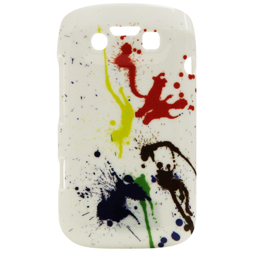 Exian Blackberry Bold 9790 Hard Plastic Case Exian Design Paint Splatter on White