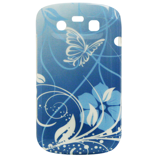 Exian Blackberry Bold 9790 Hard Plastic Case Exian Design Flower & Butterfly Blue