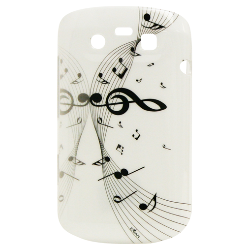 Exian Blackberry Bold 9790 Hard Plastic Case Exian Design Muscial Notes White