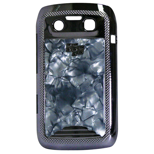 Exian Blackberry Bold 9790 Hard Plastic Case Silver Plater with Marble Pattern Grey