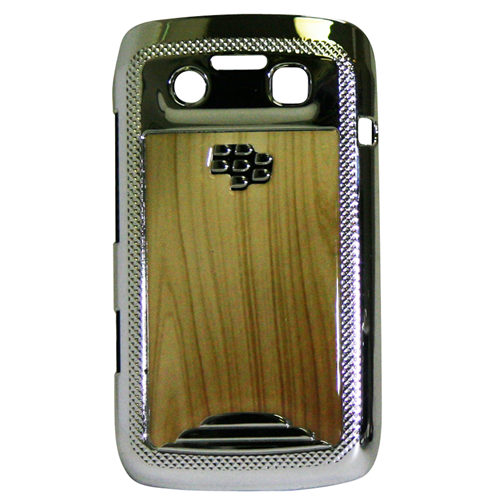 Exian Blackberry Bold 9790 Hard Plastic Case Silver Plater with Wood Pattern Brown