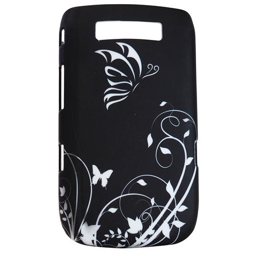 Exian Blackberry Torch 9800 Hard Plastic Case Exian Design Flower & Butterfly Black