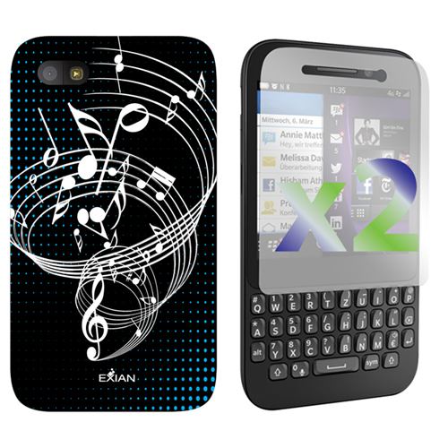 Exian Fitted Soft Shell Case for Blackberry Q5 - Black