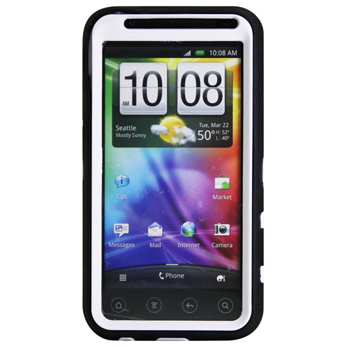 Exian HTC Evo 3D TPU+Hard Plastic Amored Case Black/White