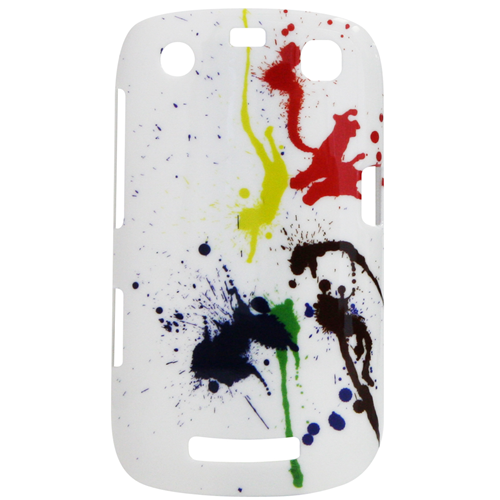 Exian Blackberry Curve 9360 Hard Plastic Case Exian Design Paint Splatter on White