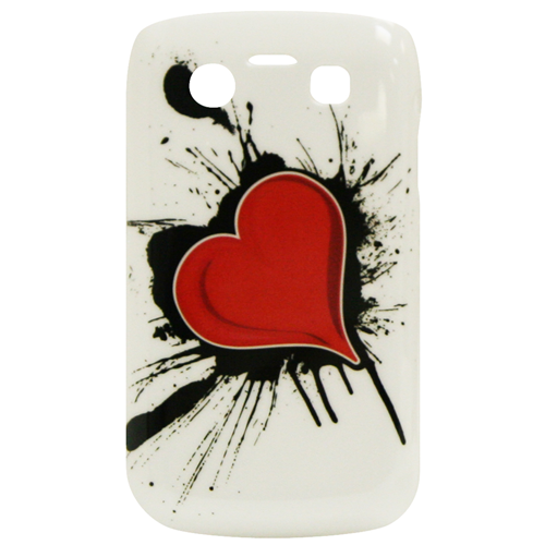 Exian Blackberry Bold 9700 Hard Plastic Case Exian Design Red Heart on White