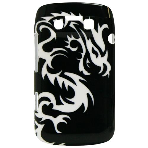 Exian Blackberry Bold 9790 Hard Plastic Case Exian Design White Dragon on Black