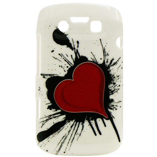 Exian Blackberry Bold 9790 Hard Plastic Case Exian Design Red Heart on White