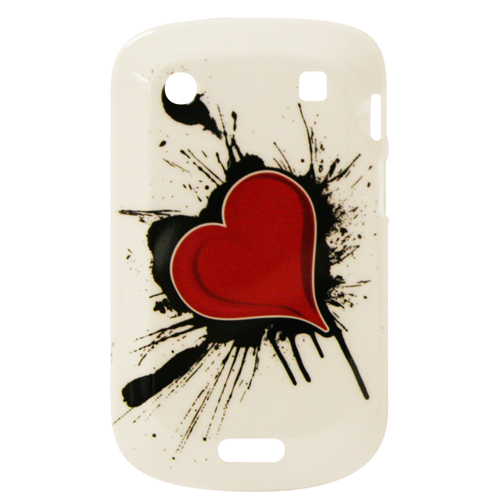 Exian Blackberry Bold 9900 Hard Plasstic Case Exian Design Red Heart on White