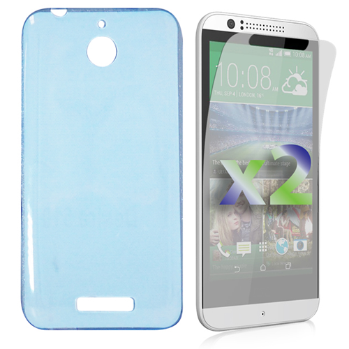 Exian HTC Desire 510 Screen Protecots X 2 and TPU Slim Case Transparent Blue