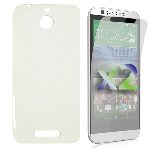 Exian HTC Desire 510 Screen Protecots X 2 and TPU Slim Case Transparent Clear