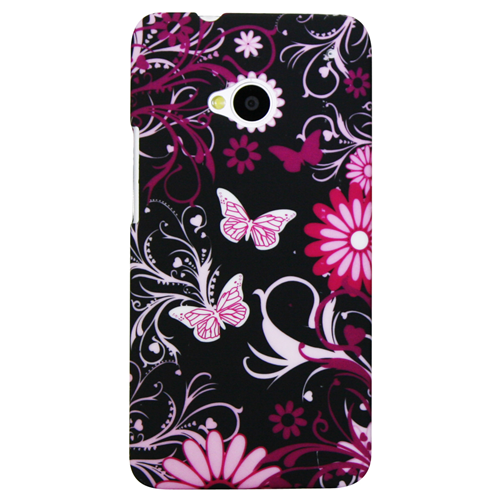 Exian HTC One M7 Had Plastic Case Flower & Butterfly Pink/Black