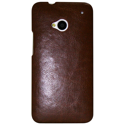 Exian HTC One M7 Hard Plastic Case PU Leather Wrapped Around Brown