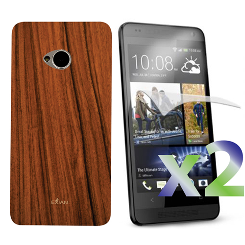Exian HTC One M7 Screen Protecots X 2 and TPU Case Exian Design Wood Pattern Brown
