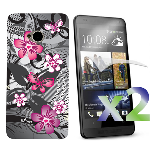 Exian HTC One M7 Screen Protecots X 2 and TPU Case Exian Design Flower & Butterfly Pink/Black