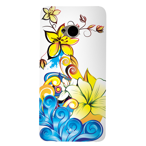 Exian HTC One M7 TPU Case Exian Design CCS Floral Pattern