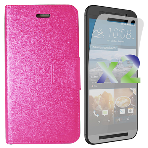Exian HTC One M9 PU Leather Wallet Hot Pink