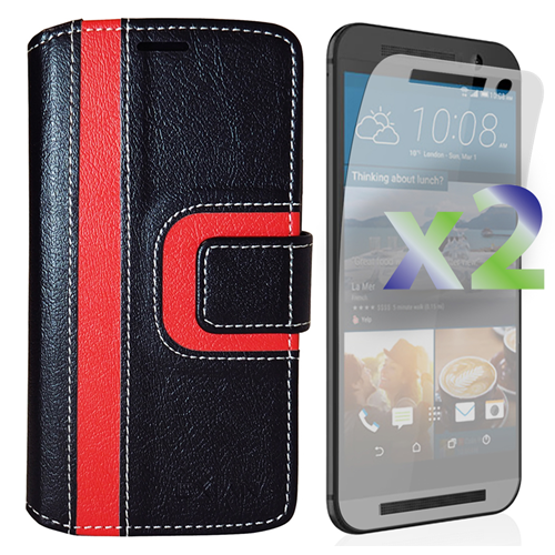 Exian HTC One M9 PU Leather Wallet Exian Design Stripe Pattern Black/Red