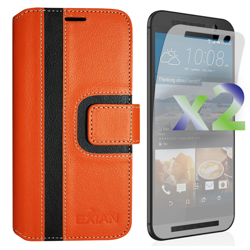 Exian Fitted Soft Shell Case for HTC One M9 - Orange/Black