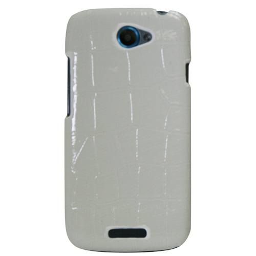 Exian HTC One S Hard Plastic Case Cocodile PU Leather Wrapped Around White