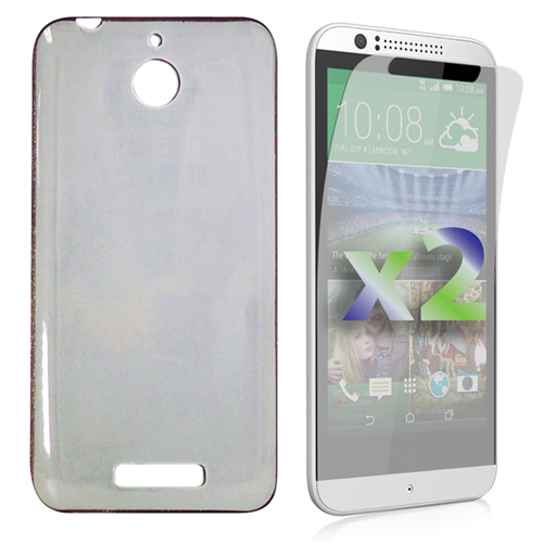 Exian HTC Desire 510 Screen Protecots X 2 and TPU Slim Case Transparent Grey