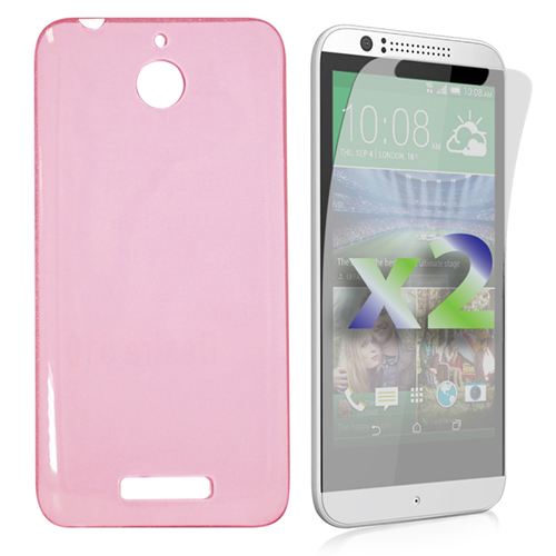 Exian HTC Desire 510 Screen Protecots X 2 and TPU Slim Case Transparent Pink