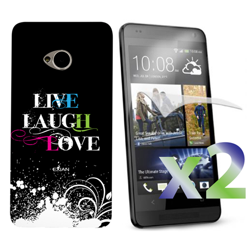 Exian HTC One M7 Screen Protecots X 2 and TPU Case Exian Design Live/Laugh/Love(2) Black