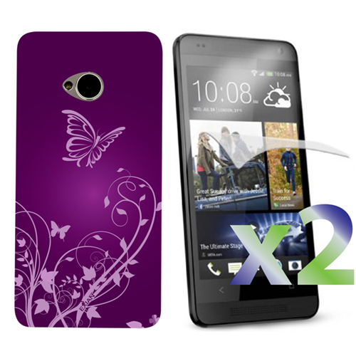 Exian HTC One M7 Screen Protecots X 2 and TPU Case Exian Design Flower & Butterfly Purple