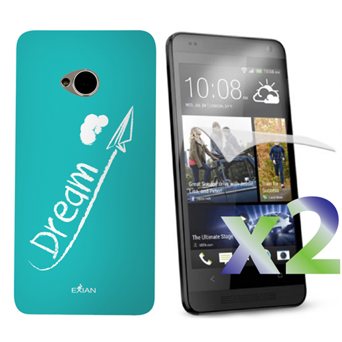 Exian HTC One M7 Screen Protecots X 2 and TPU Case Exian Design Dream on Teal