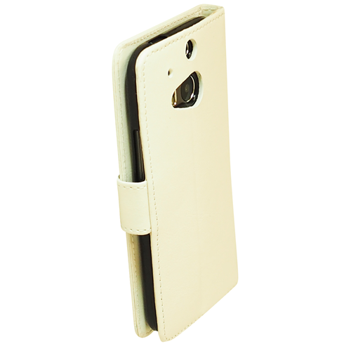 Exian HTC One M8 PU Leather Wallet White