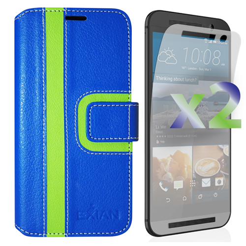 Exian HTC One M9 PU Leather Wallet Exian Design Stripe Pattern Blue/Green