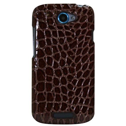 Exian HTC One S Hard Plastic Case Cocodile PU Leather Wrapped Around Brown
