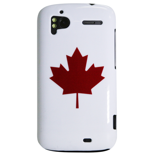 Exian HTC Sensation Hard Plastic Case Exian Design Maple Leaf on White