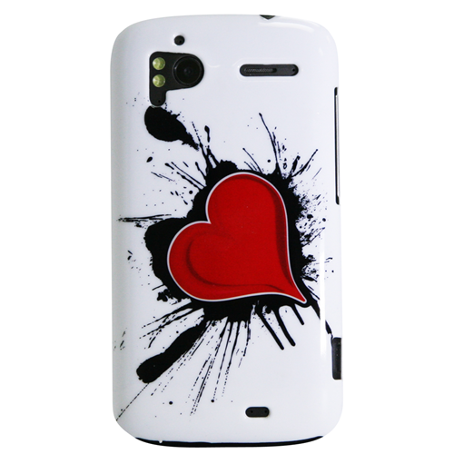 Exian HTC Sensation Hard Plastic Case Exian Design Red Heart on White