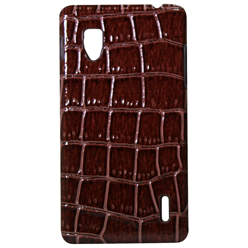 Exian LG Optimus G Hard Plastic Case PU Crocodile Skin Wrapped Around Brown