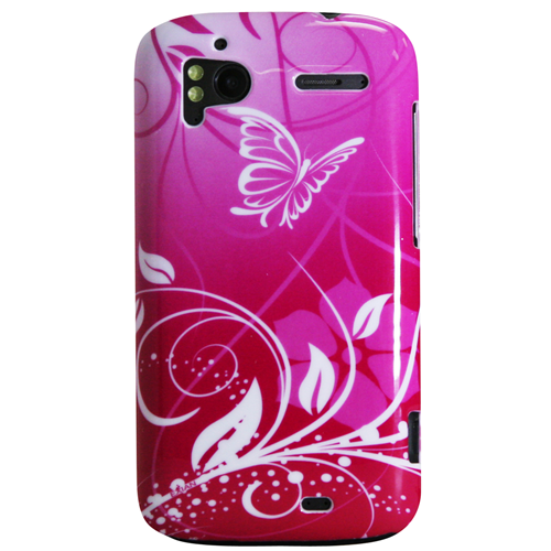 Exian HTC Sensation Hard Plastic Case Exian Design Flower & Butterfly Pink