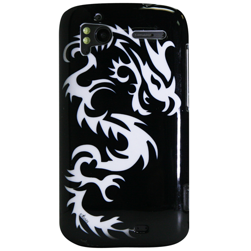 Exian HTC Sensation Hard Plastic Case Exian Design White Dragon on Black