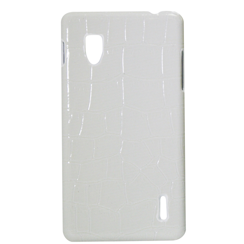 Exian LG Optimus G Hard Plastic Case PU Crocodile Skin Wrapped Around White