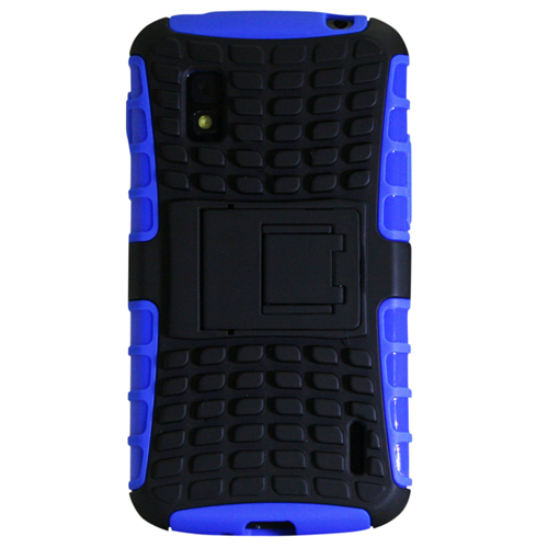 Exian Google LG Nexus 4 TPU+Hard Plastic Armoured Case with Stand Blue